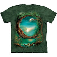 Crescent MOON TREE Face The Mountain Celtic Fantasy Green T-Shirt S-3XL NEW