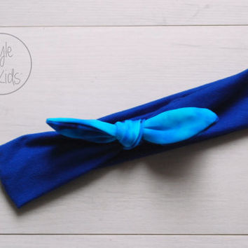 Cobalt Blue Top Knot Headband with Blue Wash Bow Headband Knot Toddler Headband Head Wrap Baby Bow Headband Newborn Knot Headband
