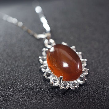 Super High Quality Retro Red Carnelian Necklace - Stone Edwardia Necklace - Genuine Red Carnelian Pendant