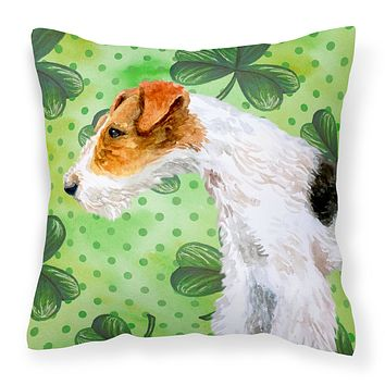 Fox Terrier St Patrick's Fabric Decorative Pillow BB9824PW1818