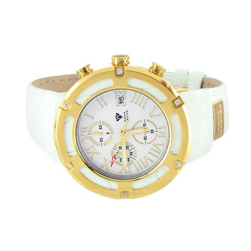 White Aqua Master Watch Genuine Diamonds Roman Number