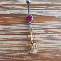Belly Button Ring - Body Jewelry - Gold Cross And Crown Charm with Pink Gem Stone Belly Button Ring