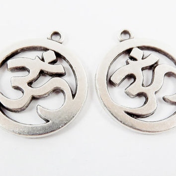 2 Large OM Symbol Charms - Matte Antique Silver Plated Brass - Yoga Aum