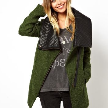 Noisy May Oversized Coat With Faux Leather Collar