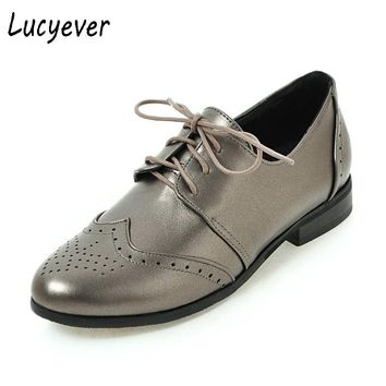 Lucyever Women Flats Soft Leather Oxford Shoes Vintage Lace up Round Toe Platform Handmade Casual Shoes Woman Plus Size 34-43