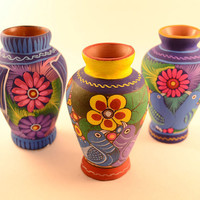 Mini Flower Vase Handpainted Colorful Folk Art Home Decor miniature art for Shelf