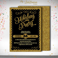 Holiday Party Invitation, Glitter Gold, Holiday Seasonal Card, Gold Christmas, Holiday Card, Digital Printable |DIY INSTANT DOWNLOAD