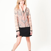 Tiger Printed jacket, tribal tiger wool felt blazer, Pink animal print - All digital printed by Texturable - Ready to ship - Size Small