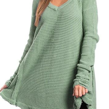 Green V Neck Waffle Knit Loose Sweater