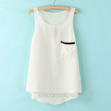 Women Shirts Tops Fashion Candy Colors Sleeveless Round Neck Pocket Tank Shirt Casual Loose Pullover Chiffon Shirts *35