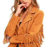 White Crow Westerner Tan Suede Leather Fringe Jacket