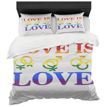 Love Is Love Gay Pride Duvet Cover Plus Two Standard Pillow Shams King And Queen Sizes Microfiber Fabric