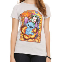 Disney Lilo and Stitch Stained Glass Palm Tree Girls T-Shirt