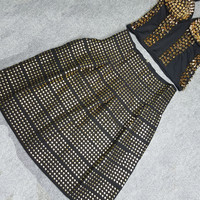 Punk Style Gold and Black Beaded Skirt