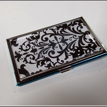 Business Card Holder Case Wallet Black White Damask