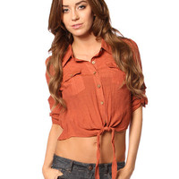 Papaya Clothing Online :: PATCHED BACK KNOTTED BLOUSE