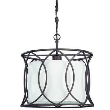Canarm IPL320A01ORB14 Monica Oil Rubbed Bronze One-Light Drum Pendant with White Fabric Shade