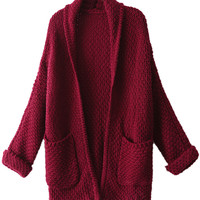Burgundy Long Sleeve Knitted Cardigan