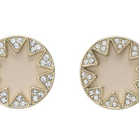 House of Harlow 1960 Sunburst Pavé Earrings Gold Tone/Cream Leather - Zappos.com Free Shipping BOTH Ways