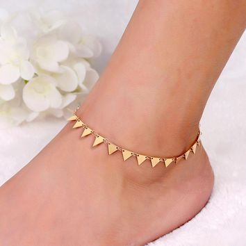 Triangle Tassel Anklet Gold Color Chain Ankle Bracelet for Women Femininas Cheville Accessories New Beach Holiday Foot Jewelry