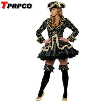 TPRPCO Women Cosplay Black Skirt Gold Sexy Pirate Costume Halloween Costume With Hat NL200