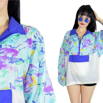 vintage 90s REEBOK windbreaker 80s Nylon Paper Thin Pullover Sweatshirt Gauzy Front Pocket Club Kidd Pastel Grunge Jacket Medium