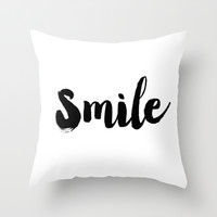 Smile. Typography. Throw Pillow by Raquel Catalan Designs