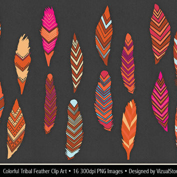 Tribal Feather Clip Art, colorful feathers clipart, bright colored feather graphics, includes digital feather collage sheet Buy 2 Get 1 Free