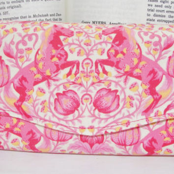 """Necessary Clutch Wallet, RTS, Great Gift, Handmade with Tula Pink Horses """"Pony Play"""" fabric & Scribbles lining, NCW, iPhone 6, wristlet"""