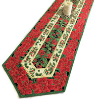 Poinsettia Christmas Table Runner Quilt, Quilted Table Runner, Christmas Decor, Red and Green, Quiltsy Handmade Patchwork Tablecloth