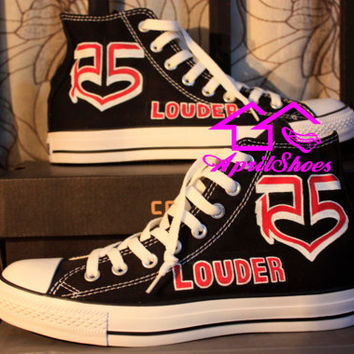 R5 Converse Sneakers Customize R5 Sneakers with R5 Logo and LOUDER on Black High Top Shoes