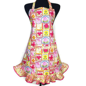 Retro Kitchen Apron for Women , Flower Seed Packets , Floral Ruffle