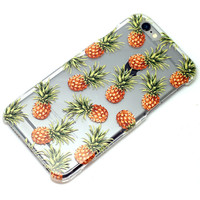 Pineapple Pattern on Clear iPhone 6, SE, 6 Plus, 6S, 5, 5C, 5S, Galaxy S6, S7, Note 4, Note 5