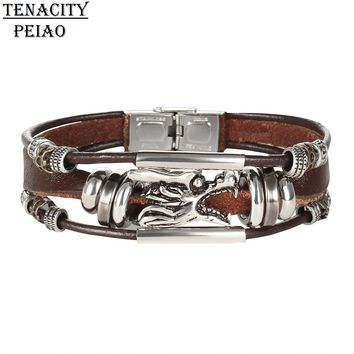 PEIAO 17KM Vintage Dragon Leather Bracelets & Bangles For Women Men Stainless Steel Antique Punk Rock Handmade Jewelry Gifts