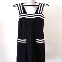 FUNDRAISER SALE vintage Betsey Johnson romper playsuit jumpsuit sailor nautical 40s 50s inspired black and white silk pin up