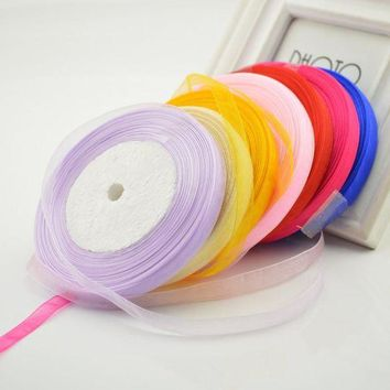 ac NOOW2 Fabric 10mm 45M Silk Satin Organza Polyester Ribbon For Sewing Wedding Party Decoration Webbing Crafts Gift Packing Belt