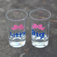 1 shot glass. Big Little sister Sorority shot glasses, Bow/Ribbon. Big, lil sister shooter glasses.GBig and Glil gift idea. pink and blue.