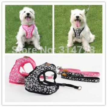Free shipping new arrival Little Pirate soft fabric comfort adjustable dog harness and leash skull pet  walking color pink