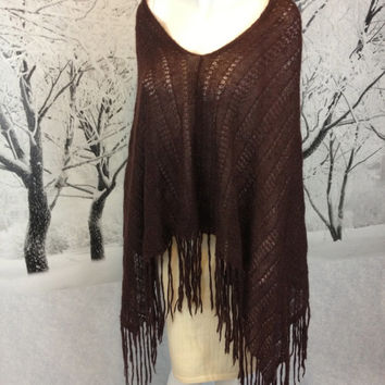 Boho Trina Turk Knit Poncho Shawl Cape Chocolate Brown Wool Mohair Blend Vintage Gypsy Tribal Bohemian Festival Fringed Extra Long