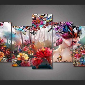 Butterfly Woman 5-Piece Wall Art Canvas