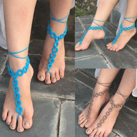 New Fashion Women's Round Crochet Barefoot Sandals Beach Knit Anklet 1 Pair