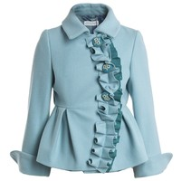 Girls Blue Wool Peplum Jacket