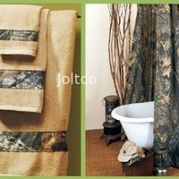 Licensed Mossy Oak New Breakup Camo Shower Curtain & Towel Set Bathroom Gift Set