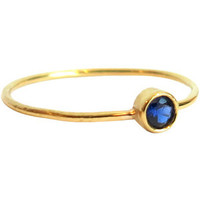 18 Karat Yellow Gold Blue Sapphire Stackable Ring