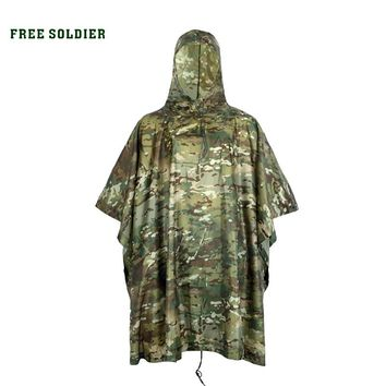 FREE SOLDIER Outdoor tactical military raincoat waterproof for cycling riding camping environmental mat men women's raincover