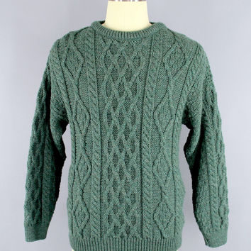 Vintage 1970s Sweater / 70s Sweater / Irish Wool Fisherman's Sweater / Green Wool Cable Knit