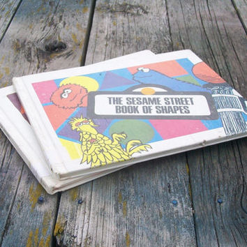 Vintage The Sesame Street Book of Letters Book of Shapes 1970 Set of 2