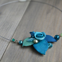 Blue floral necklace Blue bib necklace Blue leaves jewelry Blue gift for women Cottage chic jewelry Romantic rose gift Wedding blue Gift