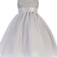 Silver Tulle Overlay Girls Holiday Dress with Sleeveless Corded Bodice 3M-10