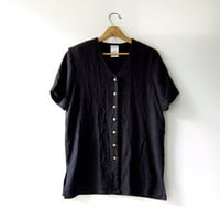 vintage modern black shirt. short sleeve shirt. oversized t shirt with wooden buttons. minimalist.
